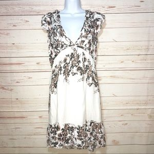Free People Deep V-Neck Floral Ruffled Dress Sz S